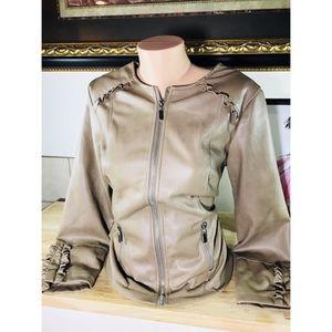 Faux leather ruffle jacket